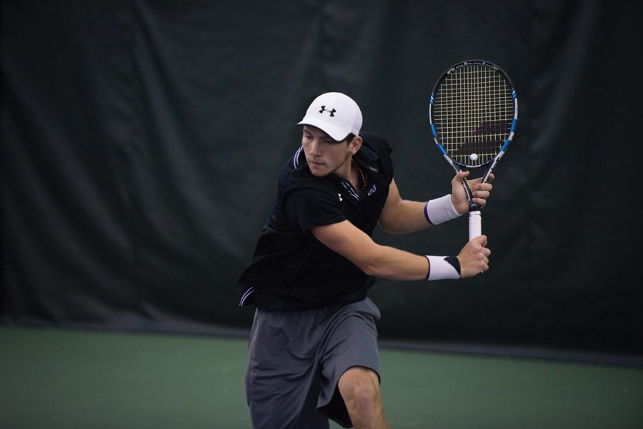 Strong+Kirchheimer+fire+a+backhand.+The+senior+helped+lead+the+Cats+to+a+pair+of+weekend+victories.
