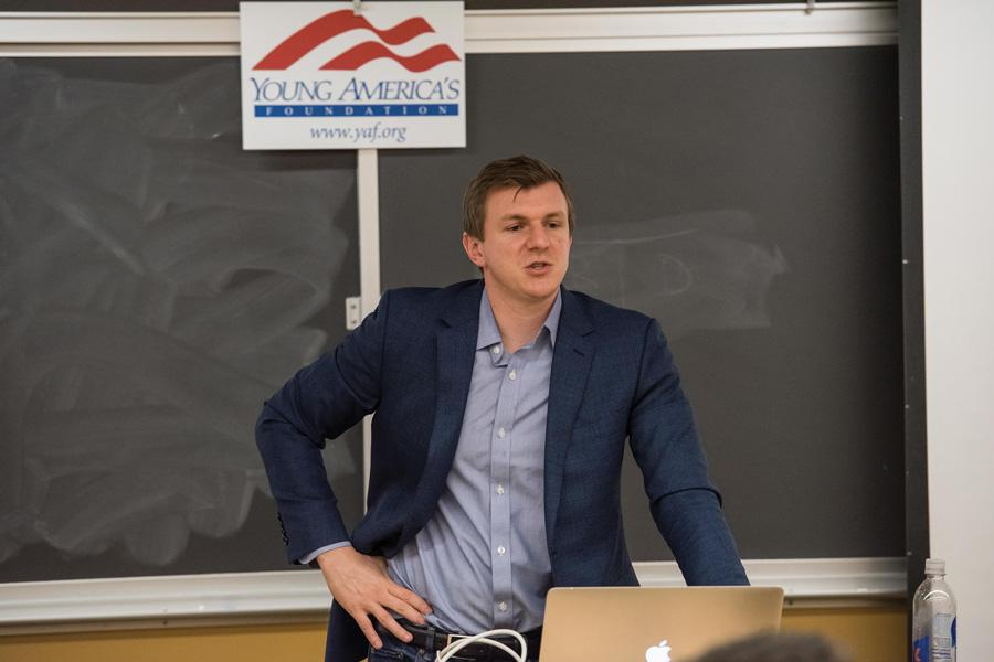 James O'Keefe, founder of Project Veritas, said his undercover videos and audio recordings are supposed to report stories the mainstream media won't. About 60 people came to College Republicans' winter speaker event on Wednesday.