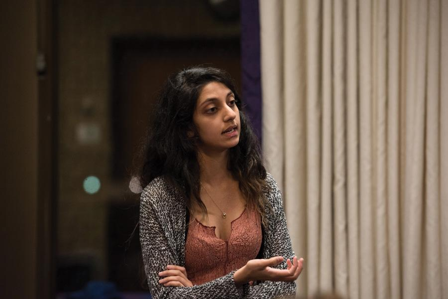 Weinberg junior Nehaarika Mulukutla talks during Senate. She is running uncontested for Associated Student Government president with running mate and Weinberg junior Rosalie Gambrah for executive vice president.