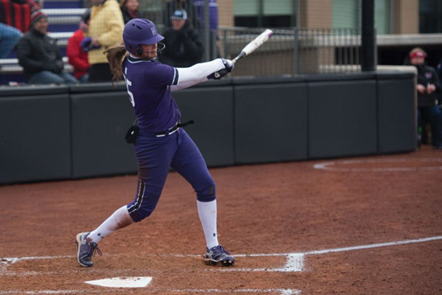 Anna+Petersen+takes+a+swing.+The+senior+outfielder+hit+a+home+run+in+the+Wildcats%E2%80%99+win+over+Illinois-Chicago+on+Wednesday.