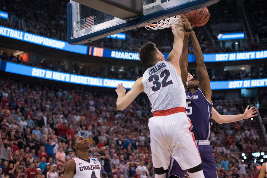 Dererk Pardon is blocked at the rim, in what the NCAA later admitted was a goaltend. Coach Chris Collins received a technical foul after the missed call, resulting in a critical 4-point swing.