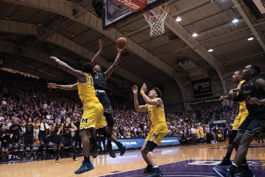 Dererk Pardon lays in the game-winning basket against Michigan. The sophomore center scored  off a full-court inbound pass as time expired.