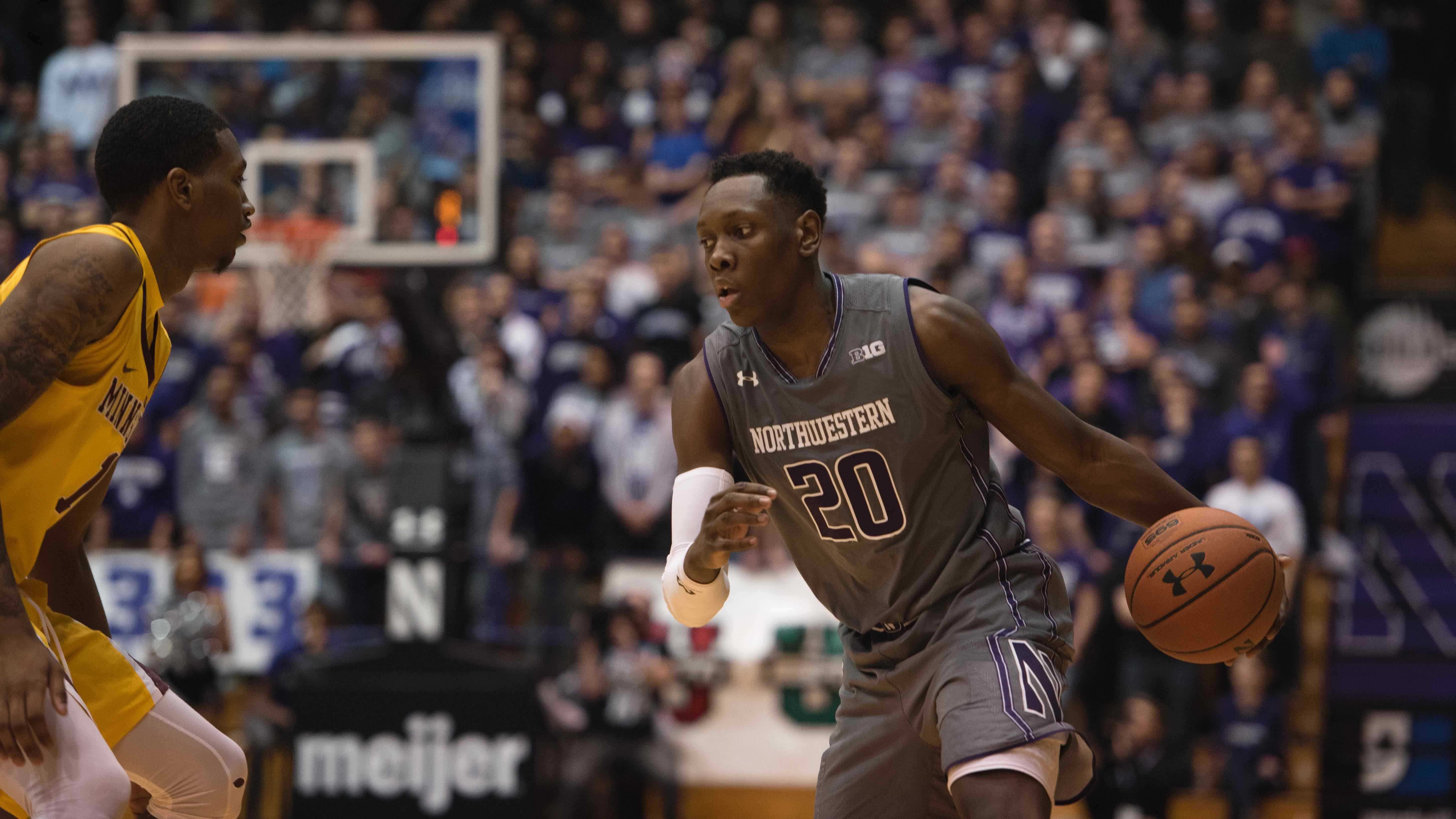 Scottie Lindsey dribbles. The junior guard emerged as one of Northwestern's leaders this season.