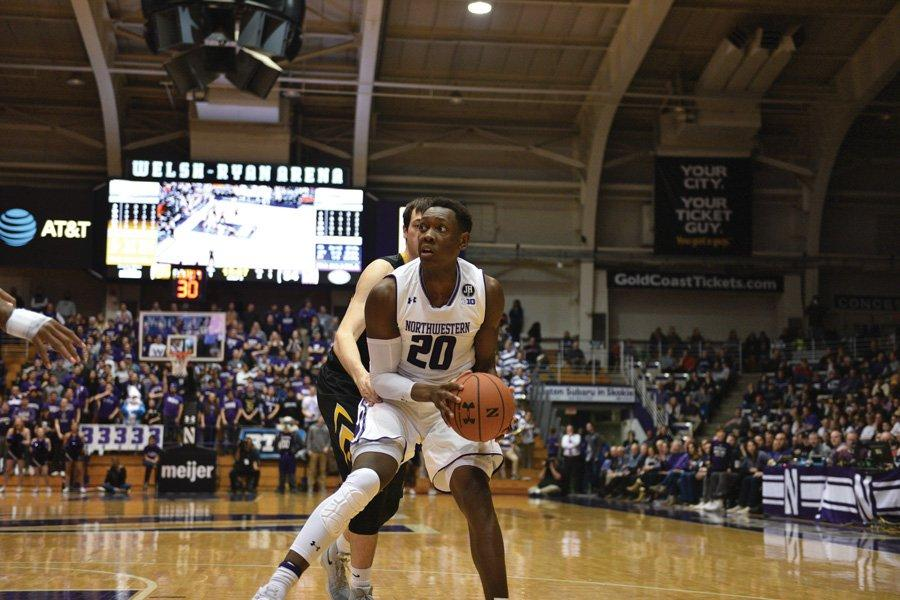 Scottie Lindsey looks toward the hoop. The junior guard scored 17 points in Northwestern's win over No. 25 Maryland.