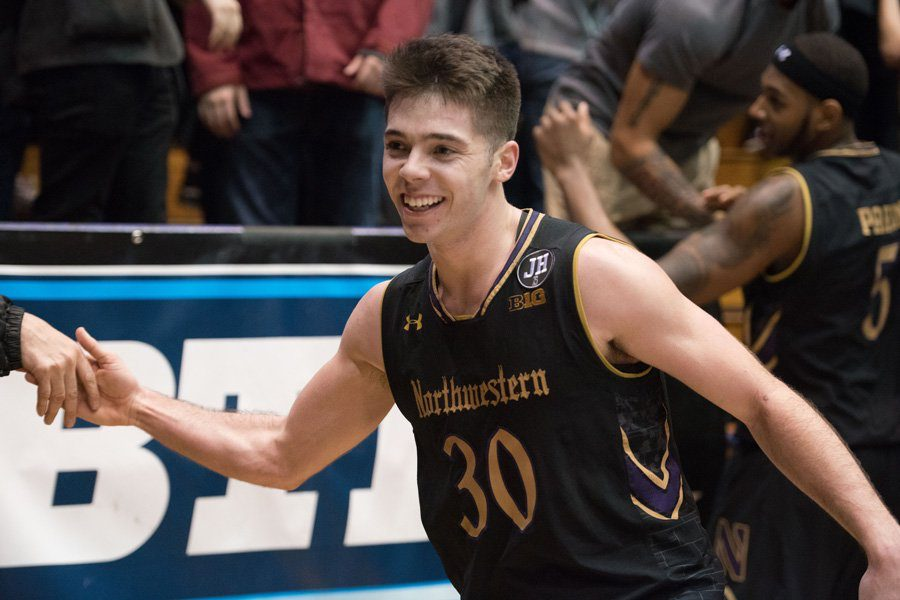 Bryant McIntosh celebrates. The junior guard scored 16 points in Northwestern's win over Maryland.