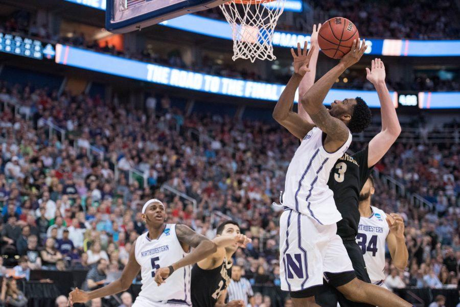 Vic Law attempts a layup. The sophomore forward scored 2 points in Northwestern's win over Vanderbilt on Thursday.