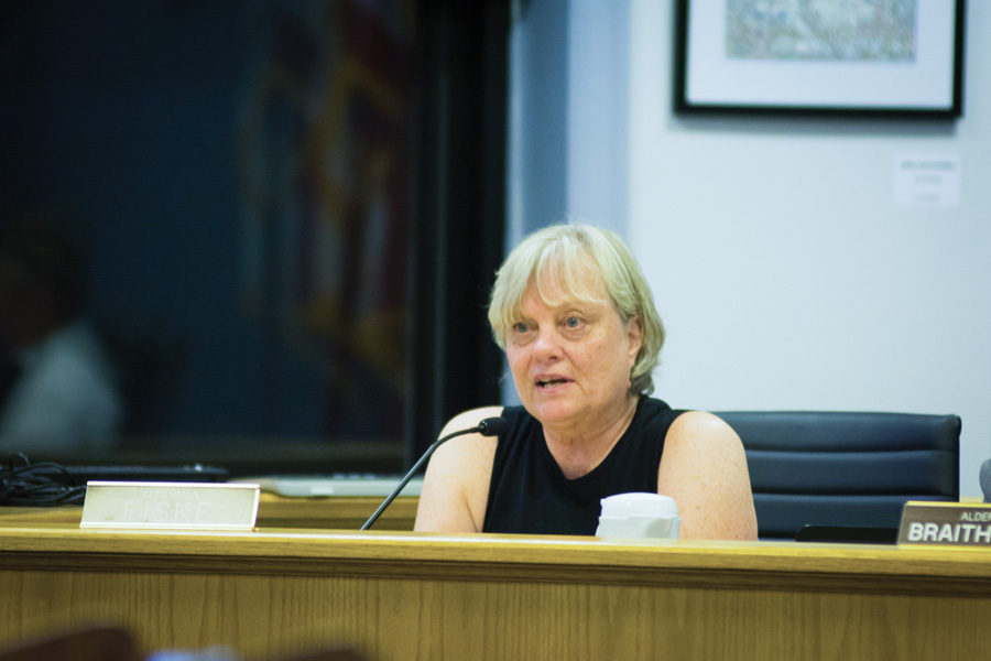 Ald. Judy Fiske (1st) attends a council meeting. Fiske has previously opposed construction of 831 Emerson, saying that she would rather preserve smaller communities.