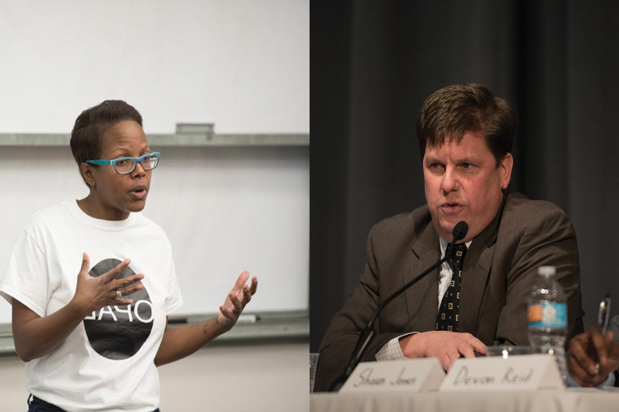 9th Ward aldermanic candidate Cicely Fleming speaks in University Hall (left). The other candidate, Shawn Jones, speaks at an aldermanic forum earlier this year (right).