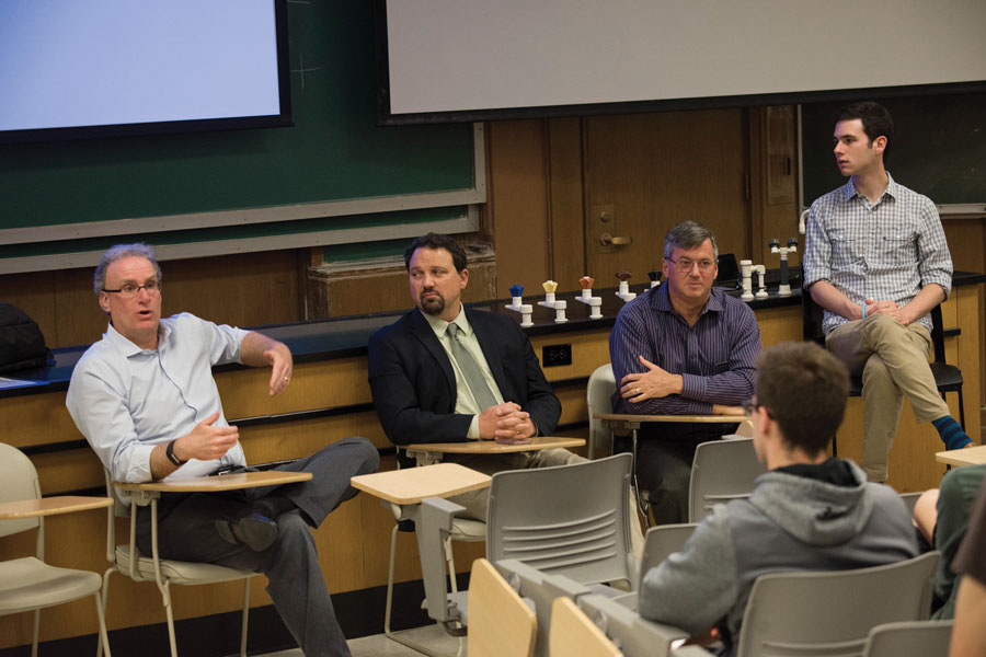 Panelists speak about mental health during an event in the Technological Institute on Tuesday hosted by Alpha Epsilon Pi fraternity. Speakers said it is important for people to engage in meaningful conversations about mental health.