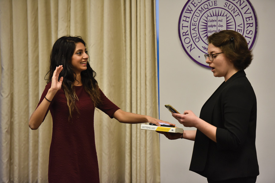 Nehaarika Mulukutla is sworn in as Associated Student Government president. The Weinberg junior won the uncontested election last week.