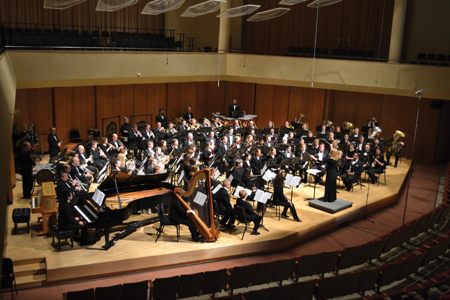 The Northshore Concert Band plays in Pick-Staiger Concert Hall. The band will return to Pick-Staiger to perform pieces honoring Holocaust Remembrance Day and Earth Day this Sunday.