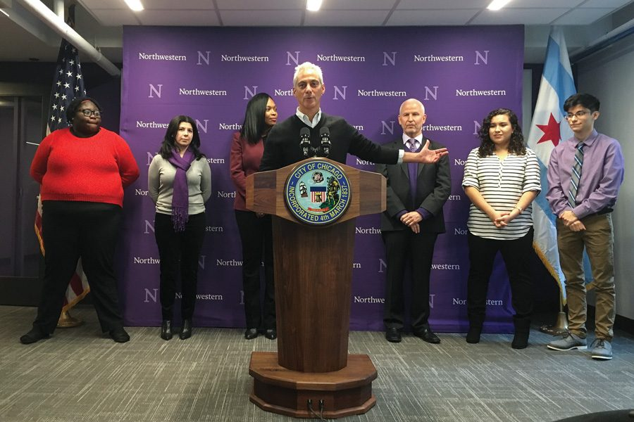 Chicago+Mayor+Rahm+Emanuel+speaks+at+a+celebration+of+Northwestern+Academy+for+Chicago+Public+Schools%E2%80%99+new+location+on+the+Chicago+campus.+On+Thursday%2C+Emanuel+reaffirmed+the+city%E2%80%99s+ban+on+official+city+business+to+North+Carolina.