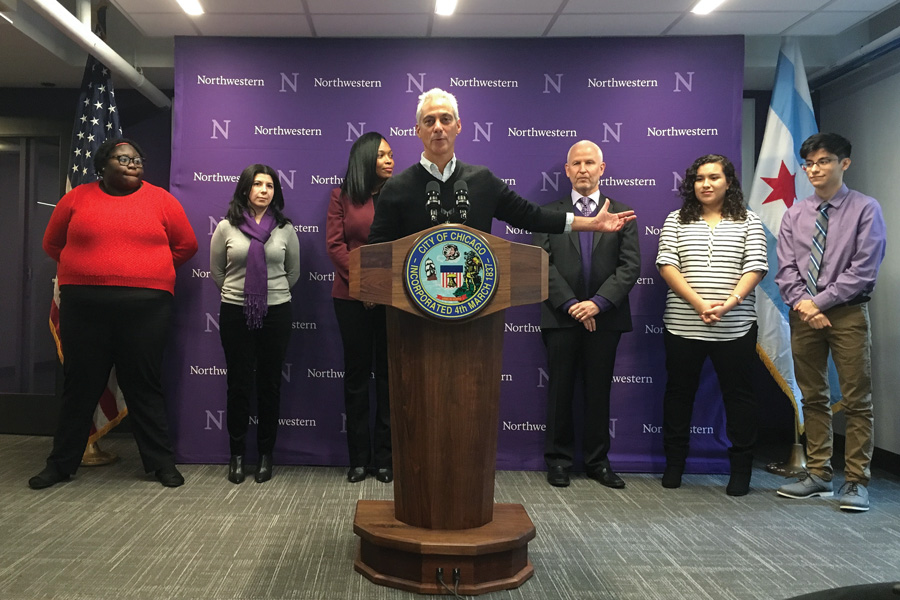 Chicago Mayor Rahm Emanuel speaks at a celebration of Northwestern Academy for Chicago Public Schools' new location on the Chicago campus. On Thursday, Emanuel reaffirmed the city's ban on official city business to North Carolina.