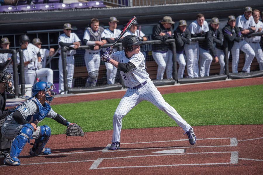 Jack+Dunn+prepares+for+a+pitch.+The+sophomore+infielder+and+the+Wildcats+are+looking+for+their+first+win+of+the+season+against+Illinois-Chicago.
