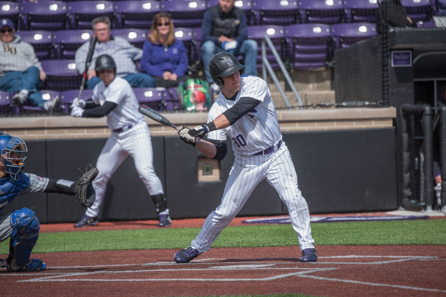 Joe Hoscheit swings at a pitch. The senior outfielder recorded 6 RBIs in the weekend series against Penn State.