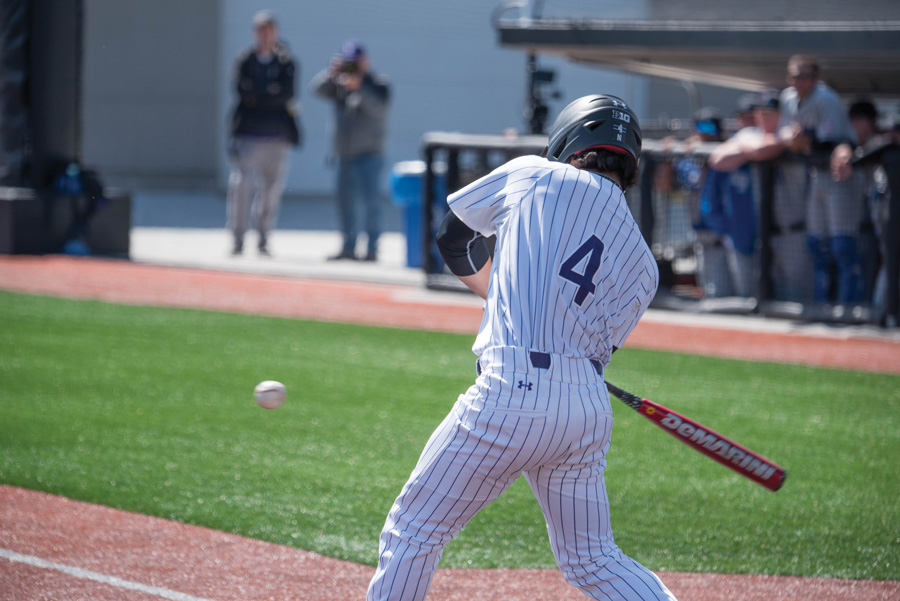Alex Erro takes a swing. The freshman infielder had the go-ahead hit for the Wildcats in Sunday's series-winning victory against Iowa.