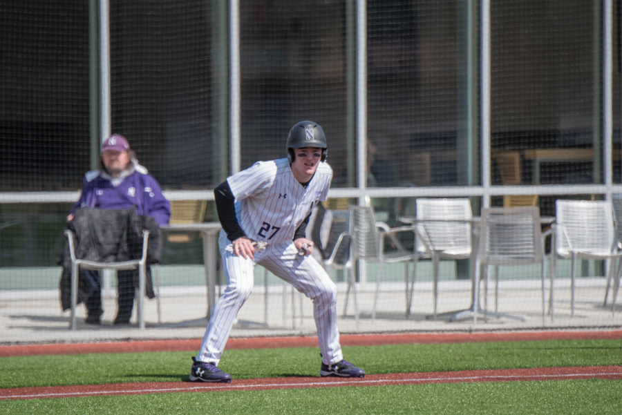 Leo Kaplan takes his lead. The freshman outfielder and the Wildcats are looking to translate this weekend's success into midweek games.