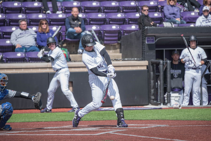 Connor Lind takes a swing. The junior infielder hit a walk-off home run Sunday to give the Wildcats the series win over Air Force.