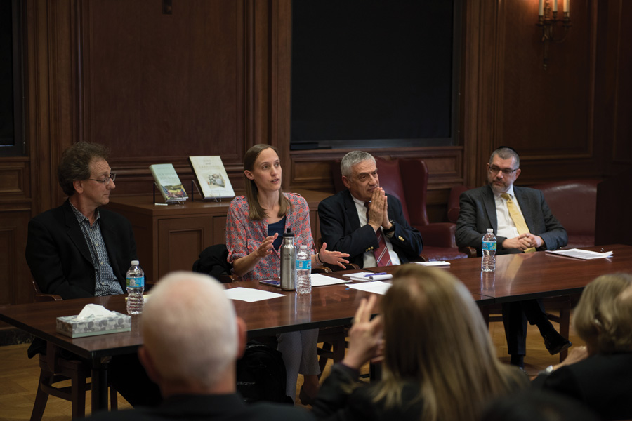 Left to right: Ken Alder, Caitlin Fitz, Joel Mokyr, Yohanan Petrovsky-Shtern. The history department held the talk to celebrate the release of three of their professors' books in the past year.