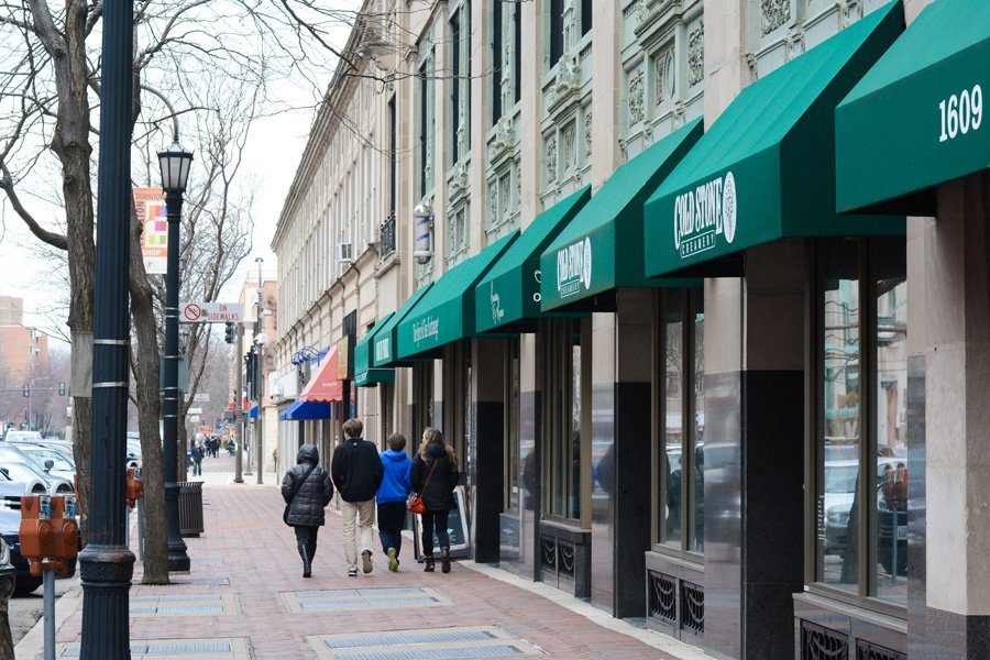 Shops and businesses lined up in downtown Evanston. The city's unemployment rate dropped to 4.1 percent in February.