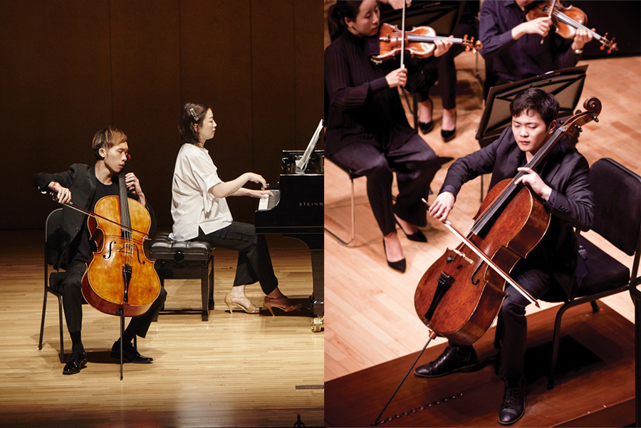 Sihao He (left) and Brannon Cho perform in the PyeongChang Music Festival in Korea. He and Cho both qualified to compete in the inaugural Queen Elisabeth cello competition in Brussels, Belgium.