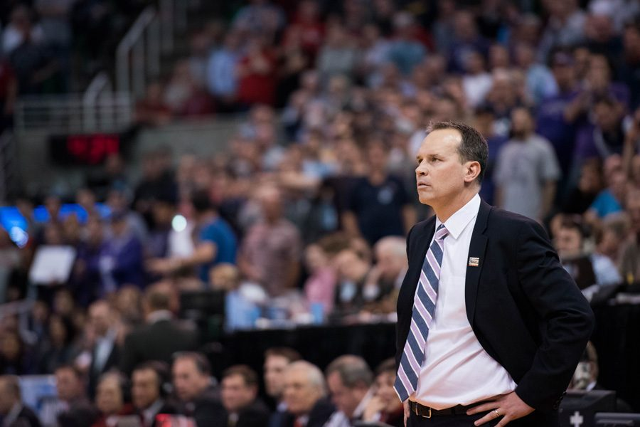 Men%E2%80%99s+basketball+coach+Chris+Collins+observes+the+court+during+an+NCAA+Tournament+game.+Collins+and+football+coach+Pat+Fitzgerald+received+contract+extensions+on+Monday%2C+according+to+reports.