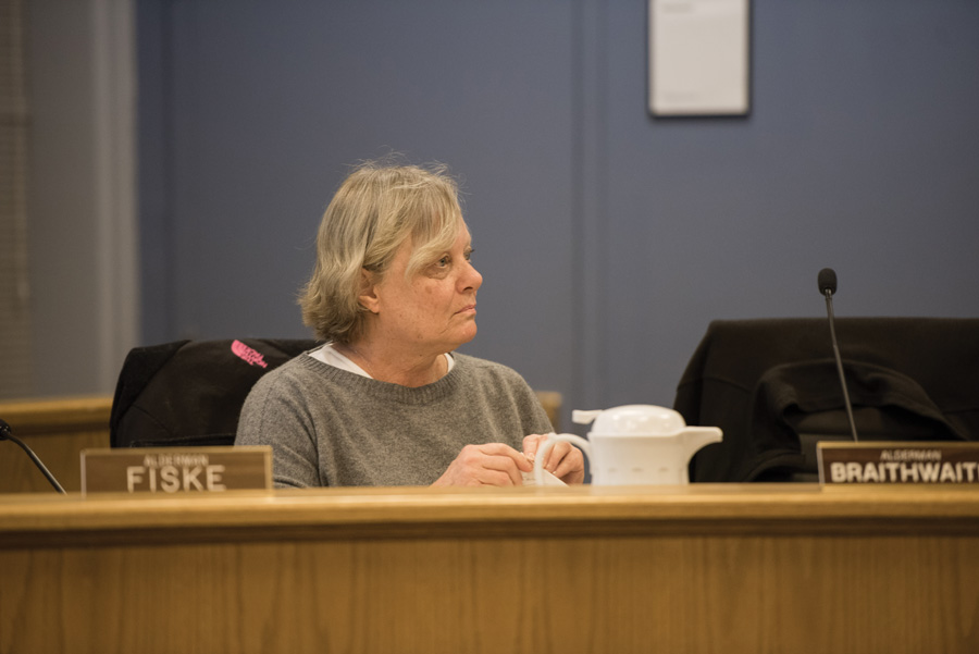 Ald. Judy Fiske (1st) speaks at a City Council meeting. Fiske on Monday expressed concern about a new plan to expand the downtown Evanston area.
