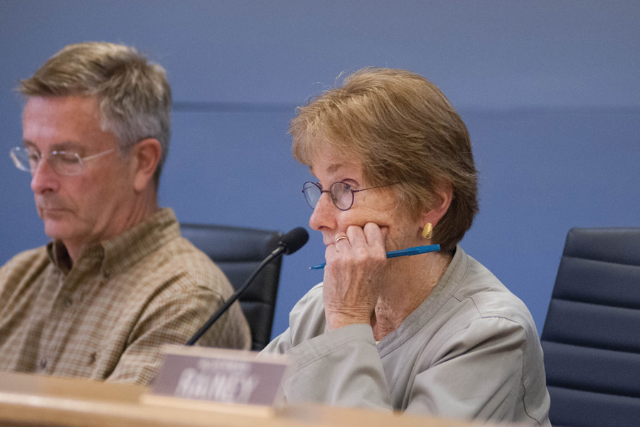 Ald. Eleanor Revelle (7th) at a meeting. Revelle introduced a resolution that aldermen approved Monday opposing President Donald Trump's proposed increase for military spending.