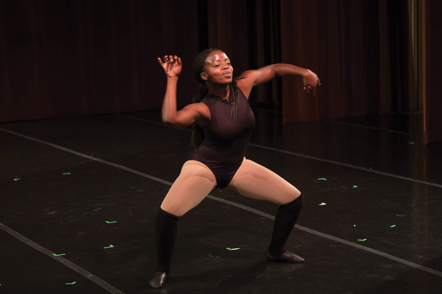 Communication freshman Desiree Applewhite performs in the New Movement Project's Fall Dance Concert. More than 200 students signed a petition initiated through NMP to increase the number and variety of dance classes offered.