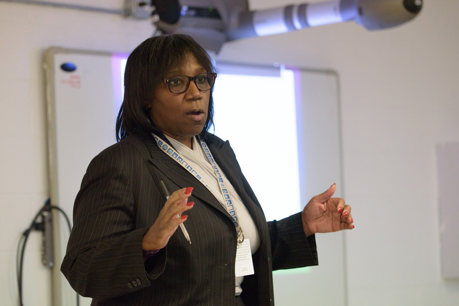 Rev. Dr. Patricia Efiom speaks at an equity meeting Tuesday night. Efiom outlined a plan to gain the community's input on a potential proposal to City Council regarding equity.