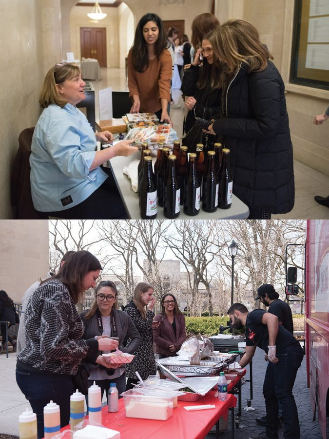"""(Top) """"Sweet Dreams"""" host and renowned pastry chef Gale Gand promotes her books and own brand of root beer to attendees of the Sugar and Spice Summit on Saturday at Harris Hall. (Bottom) La Cocinita employees sell food from a food truck to summit attendees outside Harris Hall. The University's first food summit brought prominent women in the culinary world to campus to discuss their experiences in the food industry."""