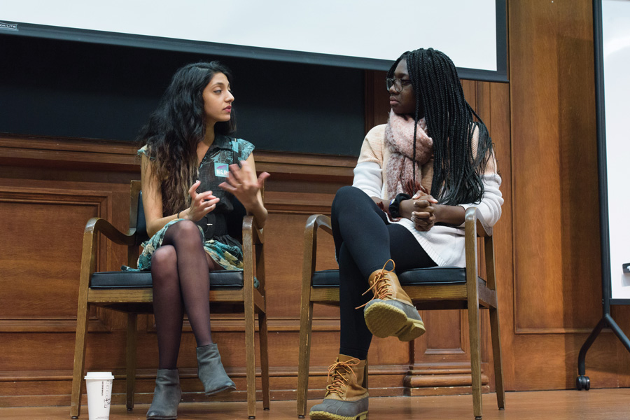 Associated Student Government president and executive vice president candidates Nehaarika Mulukutla and Rosalie Gambrah talk during a town hall co-hosted by ASG and Political Union. The two said the University should provide more funding for programs to support sexual assault survivors.