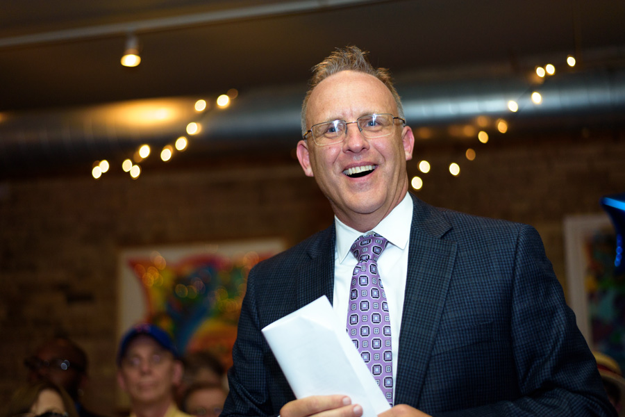 Businessman Steve Hagerty addresses supporters after claiming victory in the Evanston mayoral race. As of early Wednesday morning, Hagerty received about 160 more votes than Ald. Mark Tendam (6th), who did not concede defeat.