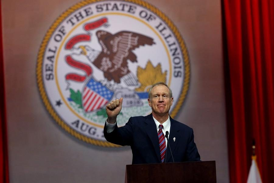 Gov. Bruce Rauner speaks at an event. Rauner on Monday introduced new steps to combat hate crimes in Illinois.