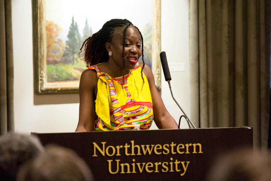 "Ghanaian tech entrepreneur Regina Honu speaks at Scott Hall on Tuesday. Honu spoke about introducing more girls to STEM and using technology to ""better"" Ghana."