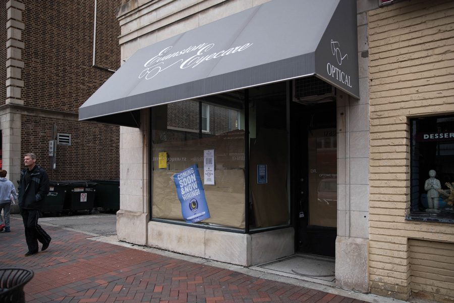The storefront of a former eyewear shop, 1725 Sherman Ave. Insomnia Cookies plans to open a location in the space later this quarter.