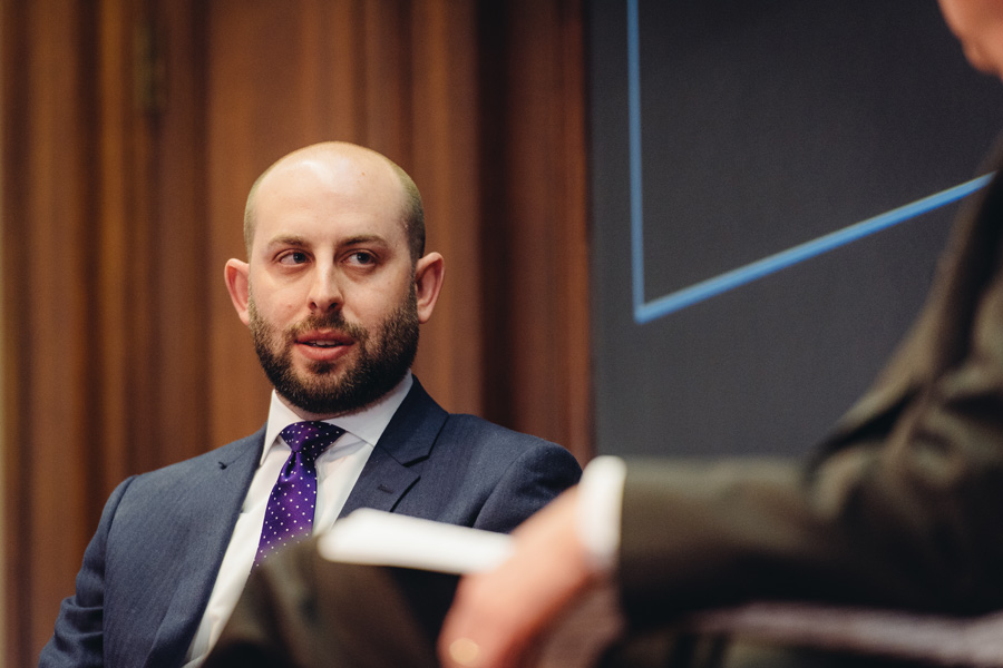 Stephen Krupin (Medill '04) speaks at Harris Hall on Tuesday. The former speechwriter for Barack Obama shared his experiences working in the White House and gave advice to students who are looking to pursue a career in a similar field.