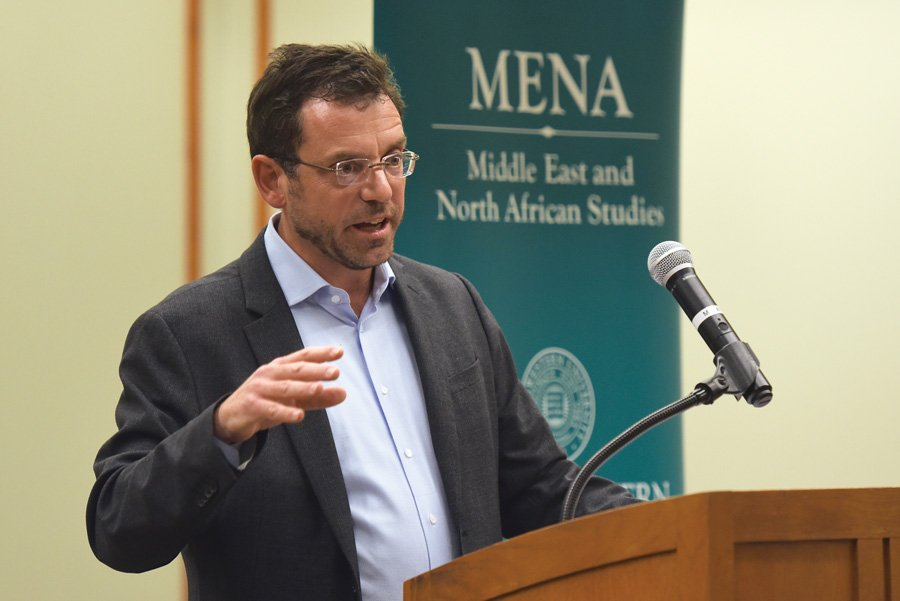 Prof. Brian Edwards speaks at a Middle East and North African studies event. The MENA director is an advocate for expanding world language programs, focusing on bringing more Arabic instruction to Chicago Public Schools.
