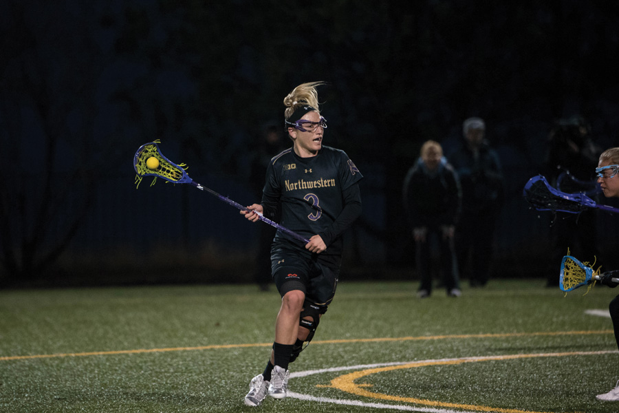 Christina Esposito looks for an opening. The senior attacker and the Wildcats face a daunting two-game stretch this weekend.