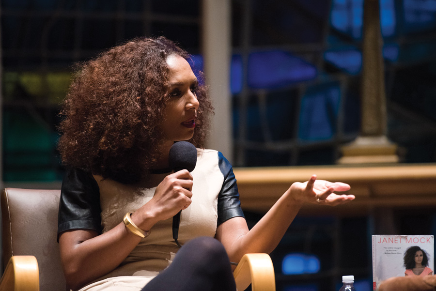 Transgender activist Janet Mock speaks to an audience in Alice Millar Chapel on Friday. Mock discussed intersectional identities and encouraged people to be allies to the transgender community.