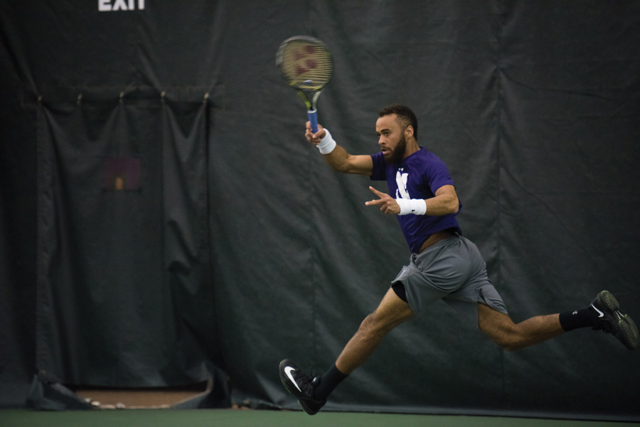 Sam Shropshire fires a forehand. The senior and the Wildcats are seeking doubles success in this weekend's matches.