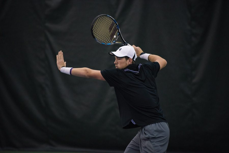 Strong Kirchheimer fires a forehand. The senior is one of three Wildcats who will close his regular season home career this weekend.