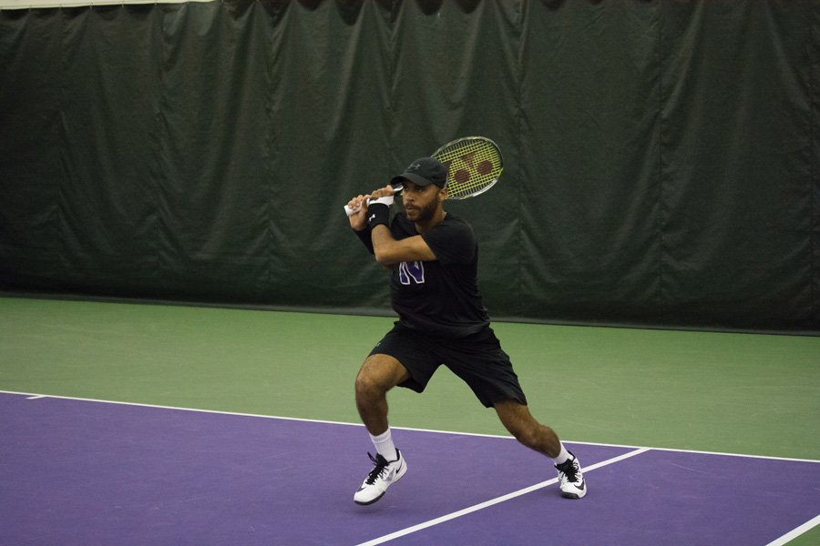 Sam Shropshire follows through. The senior and the Wildcats are looking for a Big Ten Tournament title this week.