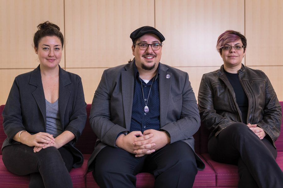History Prof. Doug Kiel (middle) represented Northwestern on the panel Monday. He is one of only six full-time Native American faculty and staff at NU.