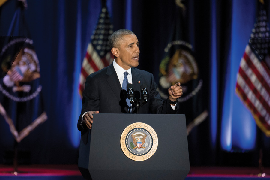 President Barack Obama delivers his Farewell Address at Chicago's McCormick Place earlier this year. On Monday, the former president will make his first public appearance since leaving office at the University of Chicago.