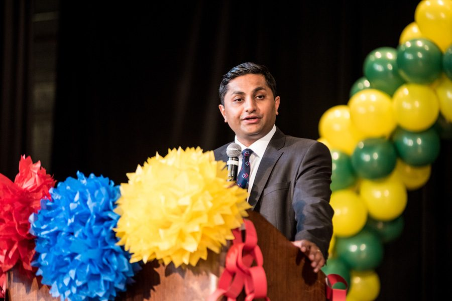 Ald. Ameya Pawar of Chicago (47th) speaks at Lane Tech College Prep in 2015. On Saturday, Pawar addressed more than 50 people at an event organized by the Evanston chapter of Action for a Better Tomorrow.