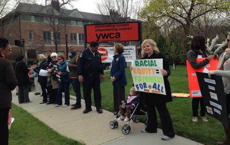 "People line the sidewalks in front of the YWCA Evanston/North Shore in 2015 for the annual ""Stand Against Racism."" The event drew a number of local residents, officials and organizations who pledged to work toward ending racism in Evanston."