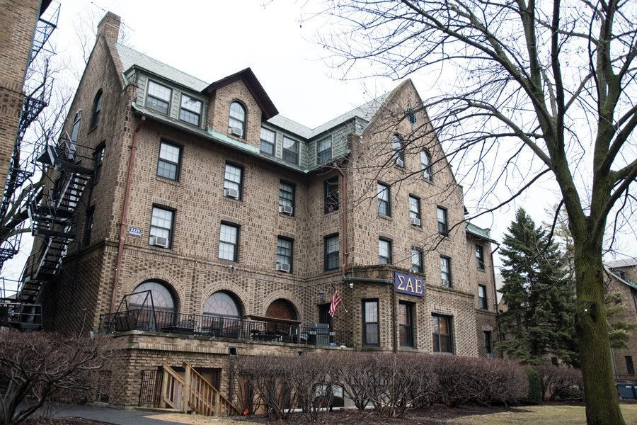 Sigma Alpha Epsilon fraternity's house on Northwestern's campus. The University announced on March 30 that no disciplinary action will be taken at this time against SAE and another unnamed fraternity following reports of alleged sexual assaults.