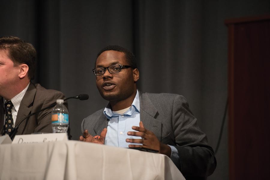 Devon Reid speaks at a forum. Reid, who was elected Evanston's next city clerk, was endorsed by Reclaim Evanston — an organization that supports progressive candidates.