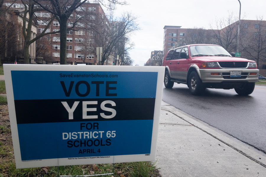 A sign supporting the District 65 referendum. On Tuesday, citizens voted overwhelmingly in favor of the referendum.